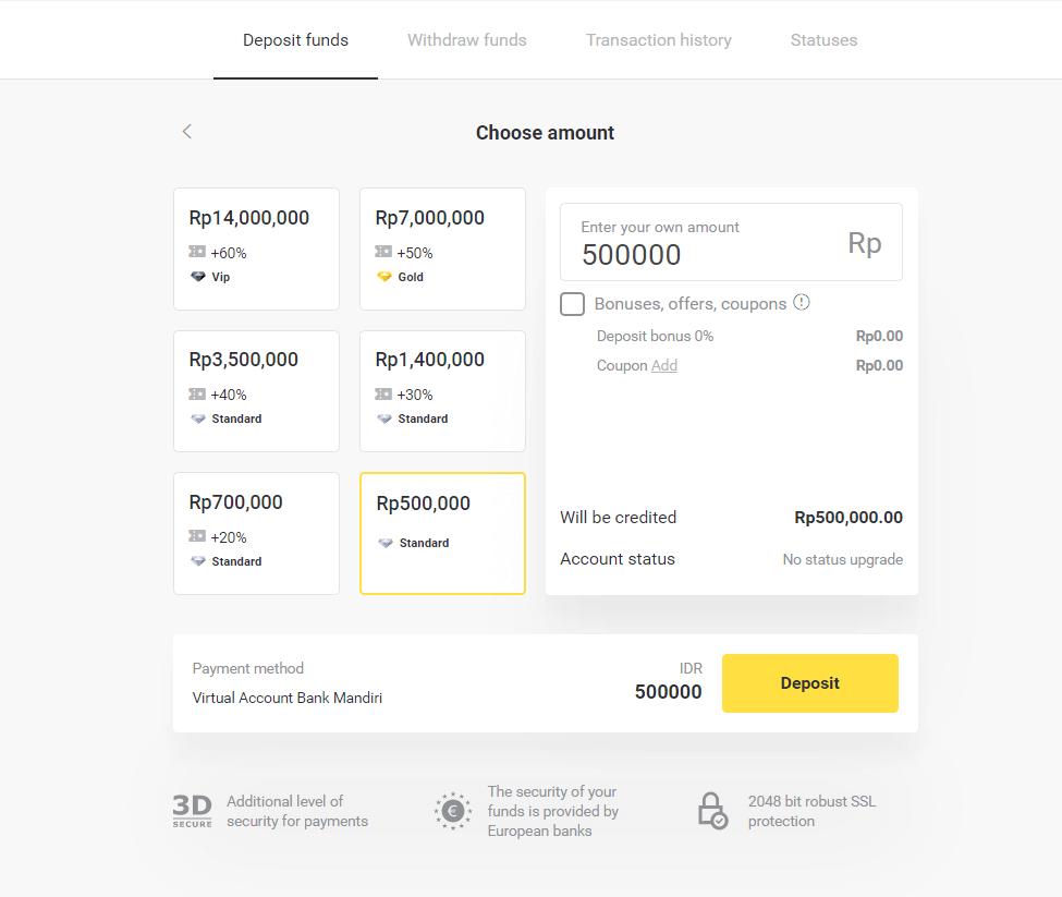 Depositar fundos no Binomo por meio de transferência bancária na Indonésia (conta virtual, conta virtual do banco Mandiri, Internet Banking)