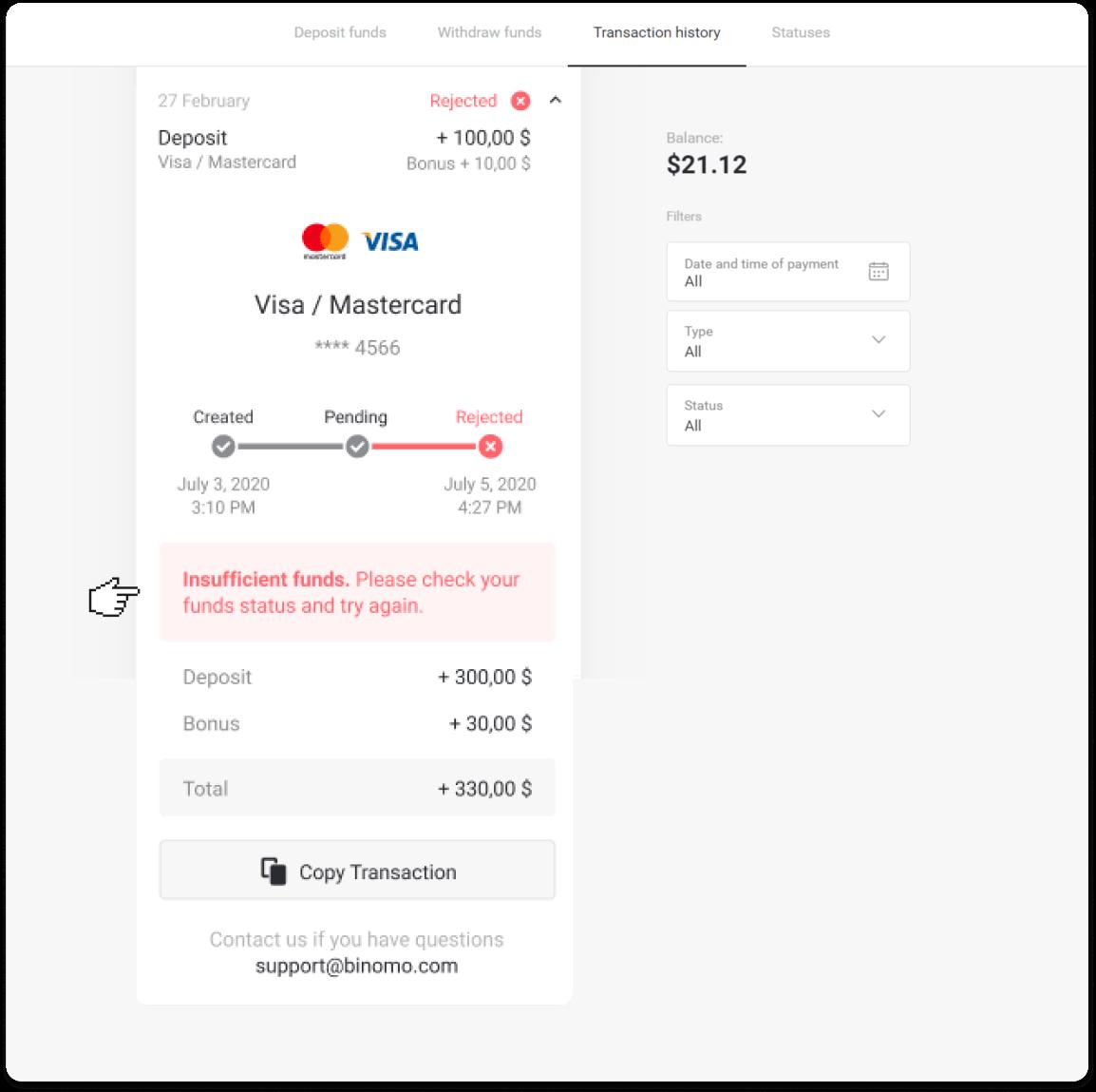Como fazer login e depositar fundos no Binomo