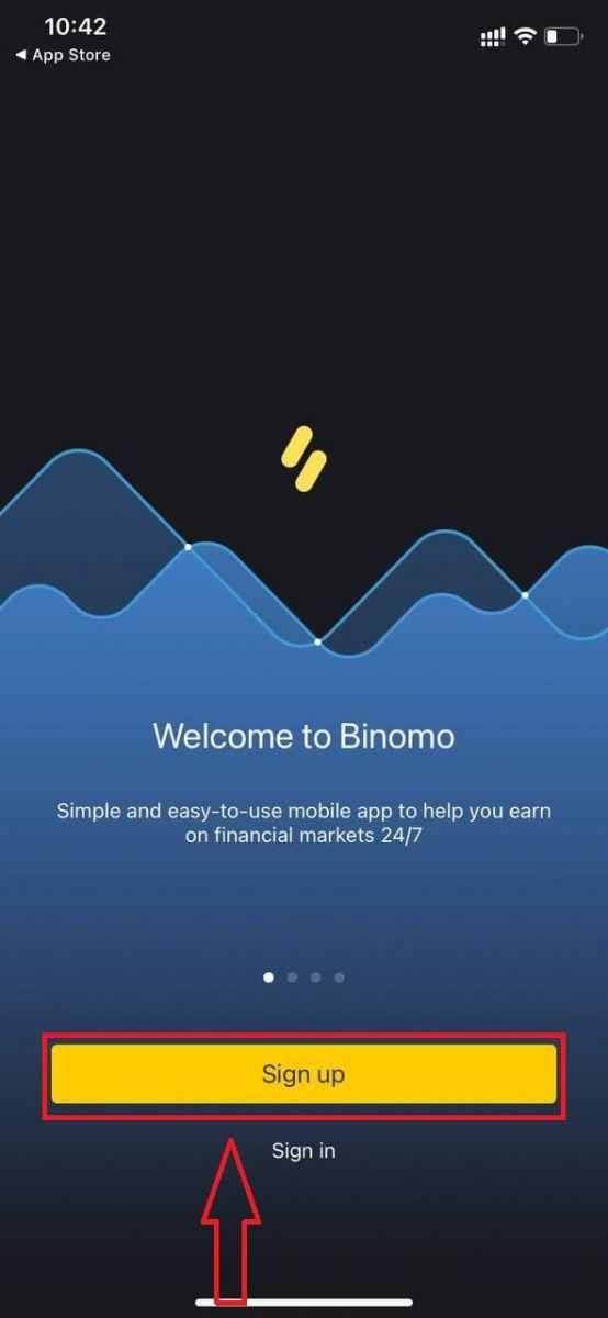 Como registrar uma conta no Binomo
